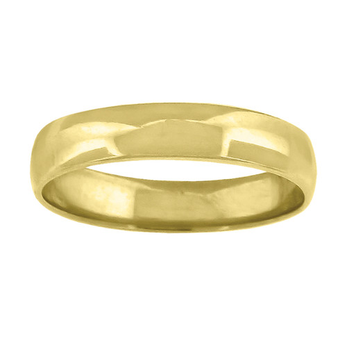 14K Yellow Gold Unisex Solid Domed Regular Fit 4mm Wedding Band Sizes 5 to 13