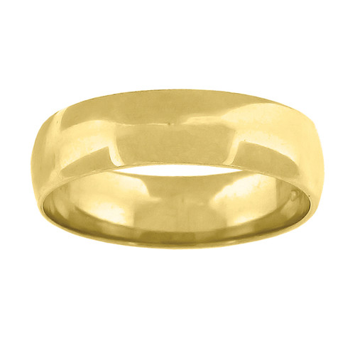 14K Yellow Gold Unisex Solid Domed Regular Fit 5mm Wedding Band Sizes 6 to 13