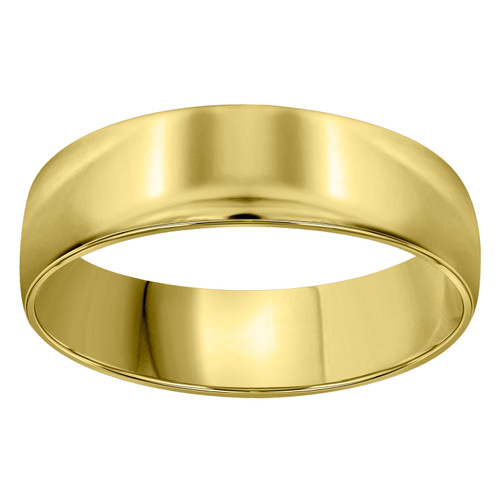 14K Yellow Gold Unisex Solid Domed Regular Fit 6mm Wedding Band Sizes 6 to 13