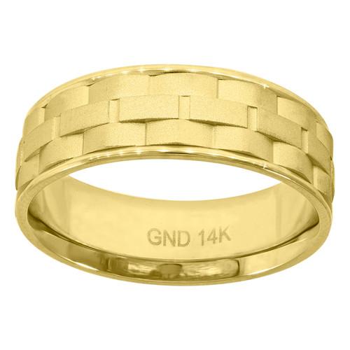 14K Yellow Gold Men's Domed Brick Pattern & Milgrain 7mm Wedding Band Sz 7 - 12