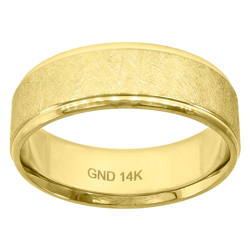 14K Yellow Gold Men's Scratch Finish w/ Step Edge 7mm Wedding Band Size 7 - 12