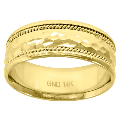 14K Yellow Gold Men's Hammered w/ Rope Milgrain 8mm Wedding Band Sizes 7 - 12
