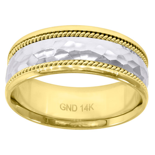 14K Two Tone Gold Men's Faceted Center Twisted Rope 8mm Wedding Band Size 7 - 12