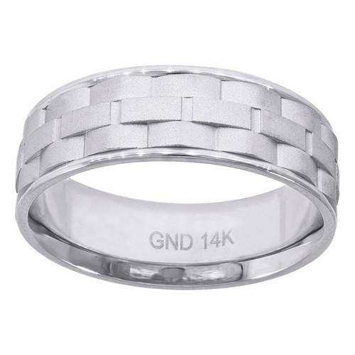 14K White Gold Men's Brick Pattern 7mm Comfort Fit Wedding Band Size 7 - 12