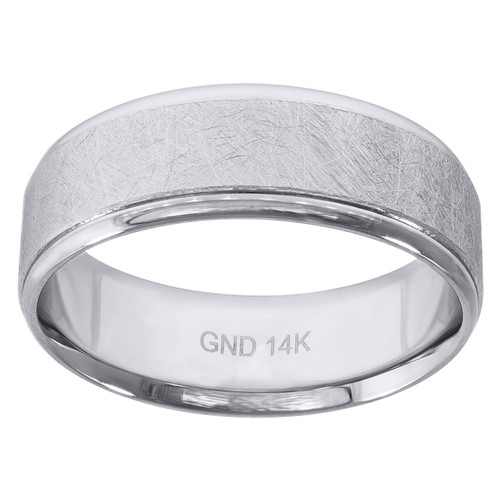 14K White Gold Men's Scratch Finish w/ Step Edge 7mm Wedding Band Size 7 - 12