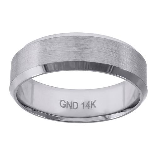14K White Gold Men's Brushed Center Beveled Edge 6.5mm Wedding Band Size 7 - 12