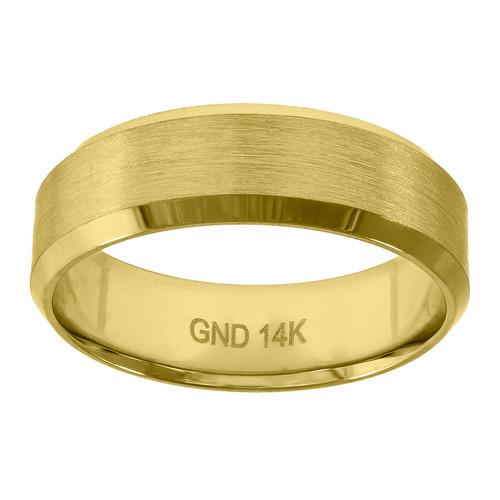 14K Yellow Gold Men's Brushed Center & Beveled Edge 6.5mm Wedding Band Sz 7 - 12