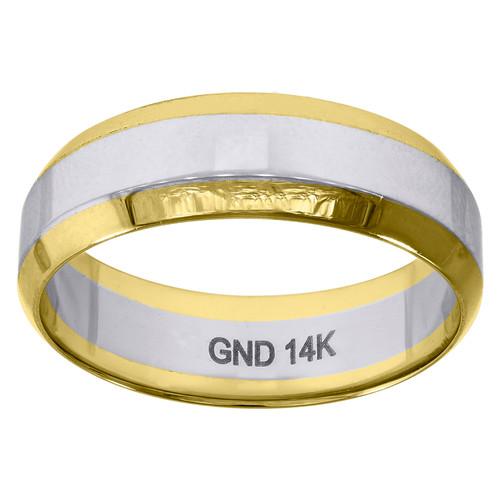 14K Two Tone Gold Unisex High Polished Beveled Edge 6.5mm Wedding Band Sz 7 - 12