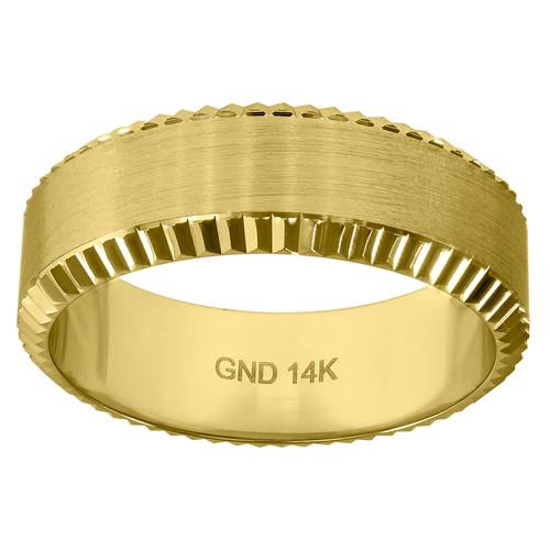 14K Yellow Gold Men's Brushed Finish & Scalloped Edge 7mm Wedding Band Sz 7 - 12