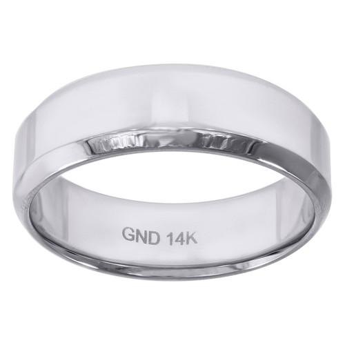14K White Gold Men's High Polished Beveled Edge 6.5mm Wedding Band Size 7 - 12