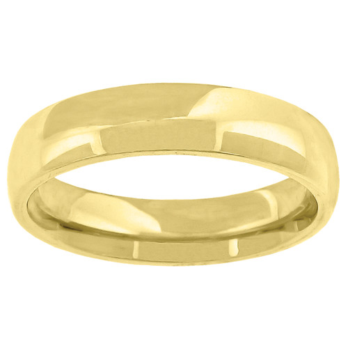 14K Yellow Gold Unisex Solid Domed Comfort Fit 5mm Wedding Band Sizes 5 to 14