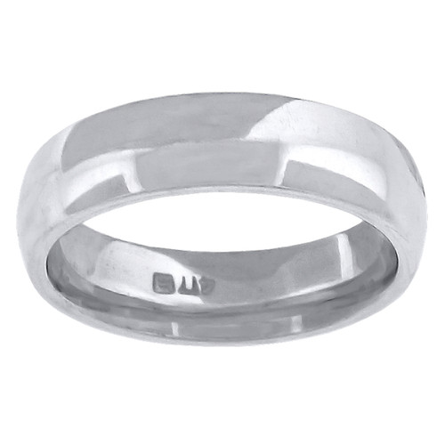 14K White Gold Unisex Solid Domed Comfort Fit 5mm Wedding Band Sizes 5 to 14