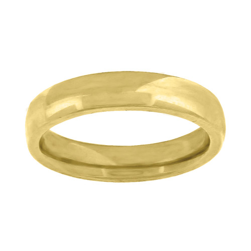 14K Yellow Gold Unisex Solid Domed Comfort Fit 4mm Wedding Band Sizes 5 to 14