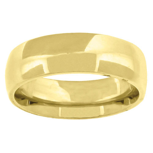 14K Yellow Gold Unisex Solid Domed Comfort Fit 6mm Wedding Band Sizes 5 to 14