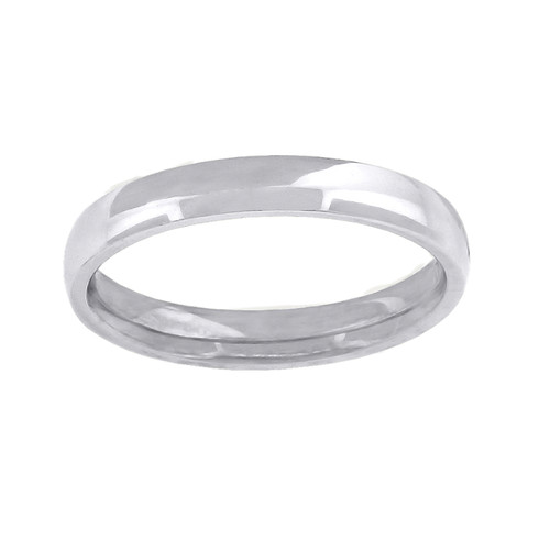 14K White Gold Unisex Solid Domed Comfort Fit 3mm Wedding Band Sizes 5 to 14