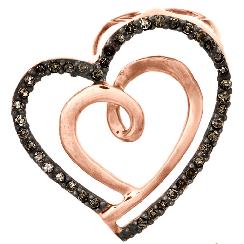 "10K Rose Gold Brown Diamond Double Heart Swirl Slide Pendant 0.75"" Charm 1/6 CT."