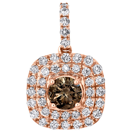 """14K Rose Gold Solitaire Round Brown Diamond Halo Pendant 0.75"""" Fancy Charm 1 CT."""