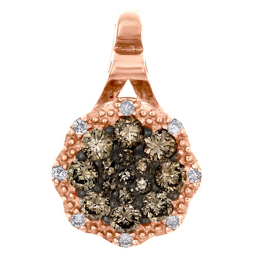 "14K Rose Gold Round Brown Diamond Cluster Pendant 0.50"" Statement Charm 1/4 CT."