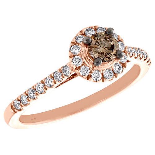 10K Rose Gold Solitaire Brown Diamond Round Halo Women's Engagement Ring 1/2 TCW