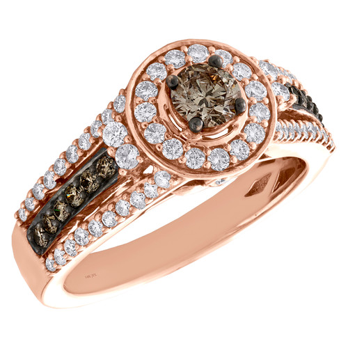 14K Rose Gold 1/3 Ct Solitaire Brown Diamond Halo Tiered Engagement Ring 1 TCW.