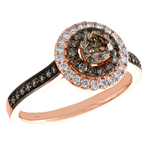 14K Rose Gold 1/2 Ct Solitaire Diamond Double Round Halo Engagement Ring 1 TCW.