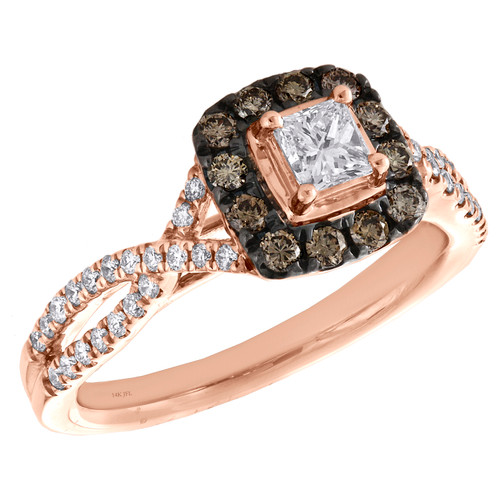 14K Rose Gold Princess Solitaire Diamond Halo Braided Engagement Ring 3/4 TCW.