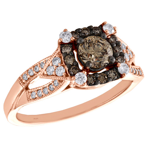 14K Rose Gold Princess Solitaire Diamond Milgrain Halo Engagement Ring 0.87 TCW.