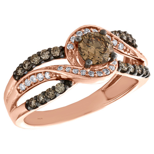 14K Rose Gold 1/2 Ct Solitaire Brown Diamond Split Shank Engagement Ring 1 TCW.
