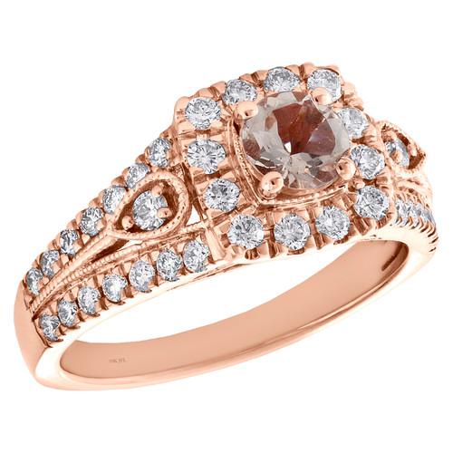 10K Rose Gold Solitaire Morganite & Diamond Split Shank Engagement Ring 1.20 TCW