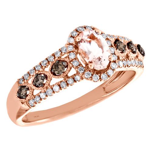 14K Rose Gold Oval Morganite & Diamond Milgrain Halo Engagement Ring 0.71 TCW.