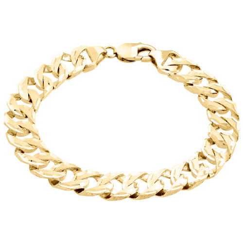 10K Yellow Gold Brushed Matte Finish Texture Solid Cuban Link 11mm Bracelet 9""