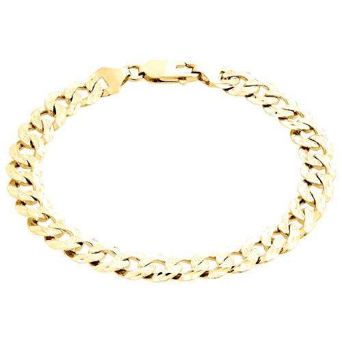 "10K Yellow Gold Textured Diamond Cut Solid Cuban Link 9mm Fancy Bracelet 8.50"""
