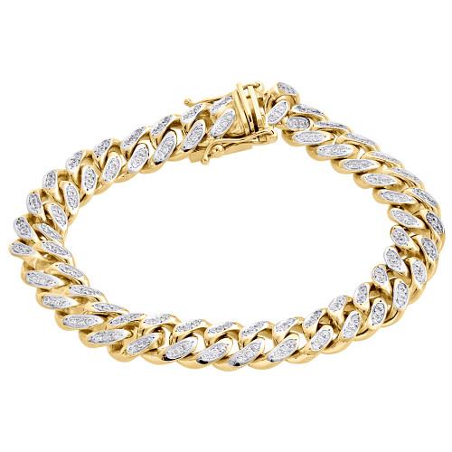 "10K Yellow Gold 11mm Solid Miami Cuban Box Clasp Simulated Diamond Bracelet 8.2"""