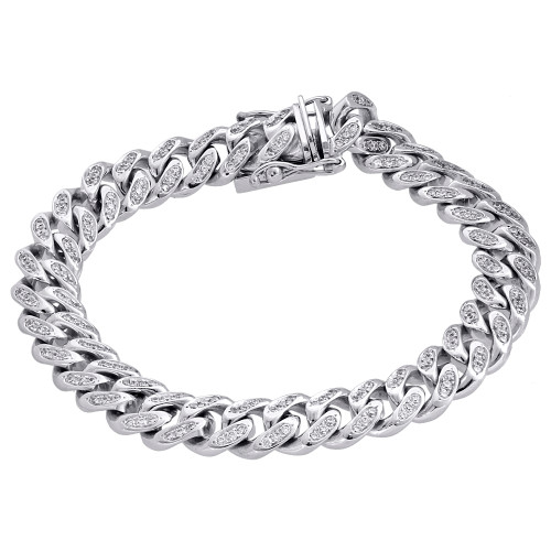 10K White Gold 11mm Solid Miami Cuban Box Clasp Simulated Diamond Bracelet 8.25""