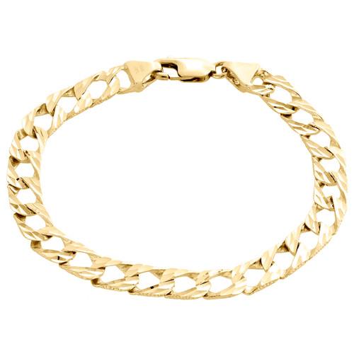 "10K Yellow Gold Diamond Cut Textured Miami Cuban Link 7.75mm Fancy Bracelet 8.5"""