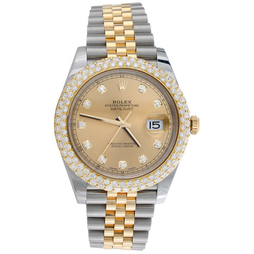 Mens Rolex DateJust 41 Champagne Diamond Dial Watch 126333 Honeycomb Bezel 4 CT