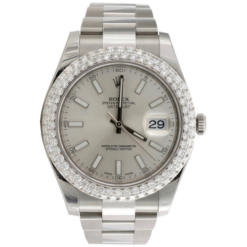 Mens Rolex DateJust II 41mm Daimond Watch Ref # 116300 Silver Stick Dial 4.64 CT