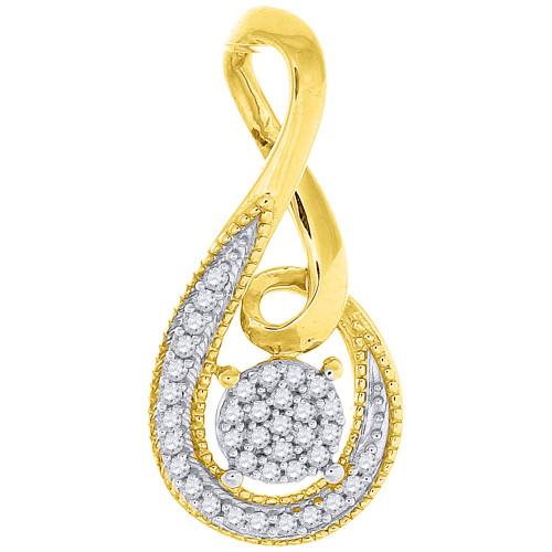 Diamond Infinity Slide Pedant Ladies 10K Yellow Gold Round Cut Charm 0.10 Ct.