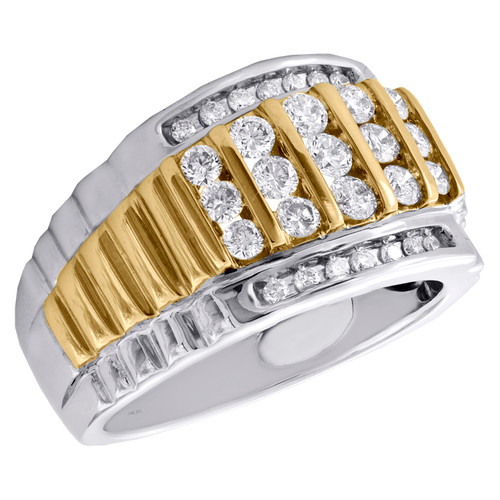 14K Two Tone Gold Round Diamond Cluster Wedding Band 14mm Channel Set Ring 1 CT.
