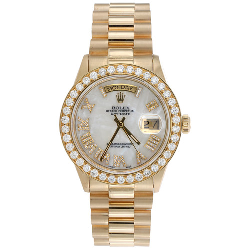 Rolex 36mm President Day-Date 18038 Diamond 18K Gold Watch White MOP Dial 3 CT.