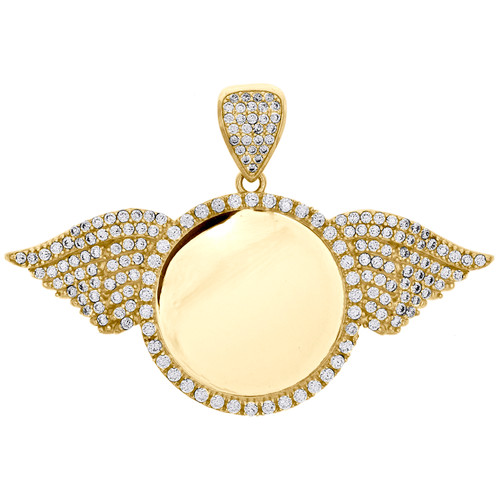 10K Yellow Gold Memory Picture Frame Pendant Cubic Zirconia Angel Wing Charm