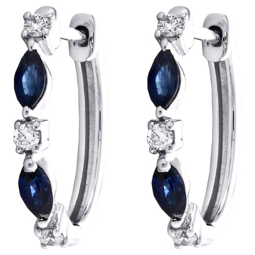 "14K White Gold Marquise Blue Sapphire Diamond Hoop 0.60"" Cocktail Earring 3/7 CT"