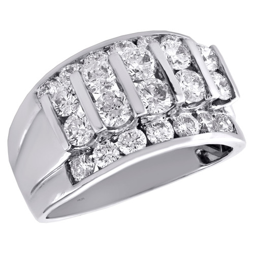 14K White Gold Round Diamond Cluster Wedding Band 13mm Channel Set Bar Ring 3 CT