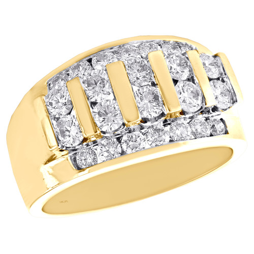 14K Yellow Gold Round Diamond Wedding Band Channel Set 13mm Statement Ring 2 CT.