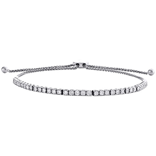 "14K White Gold Round Diamond Prong Set Bolo Tennis Bracelet 13"" | 2.75mm | 2 CT."