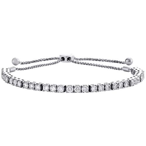 "14K White Gold Round Diamond 4-Prong Tennis Line Bolo Bracelet 10"" | 3mm | 3 CT."