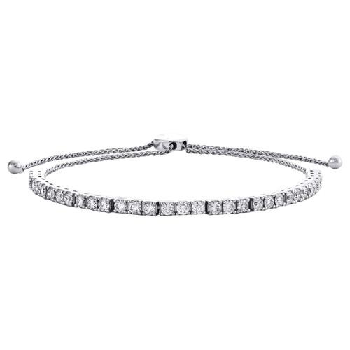 "14K White Gold Round Diamond Prong Set Bolo Tennis Bracelet 14"" | 3.50mm | 4 CT."
