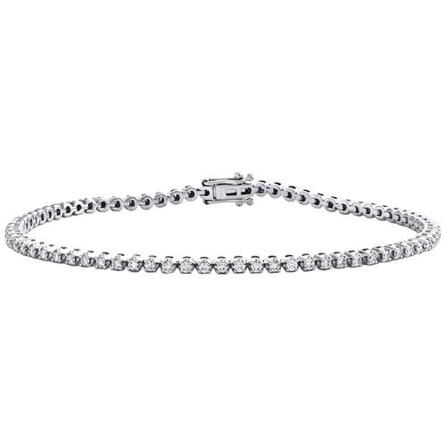 "10K White Gold Round Diamond 4-Prong Tennis Link Bracelet 7"" | 2.50mm | 1.20 CT."