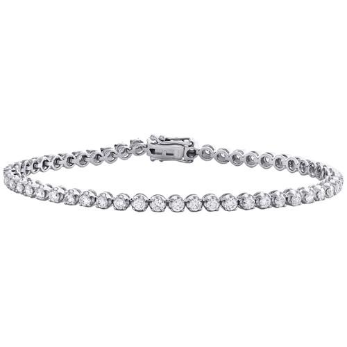 "10K White Gold Round Cut Diamond 4-Prong Tennis Link Bracelet 7"" | 3.50mm | 3 CT"