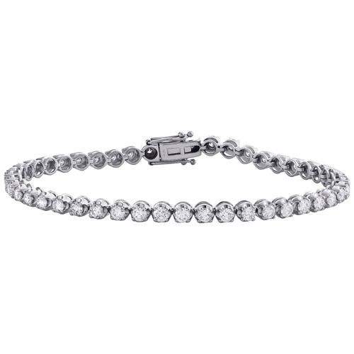 10K White Gold Round Cut Diamond 4-Prong Tennis Link Bracelet 7"